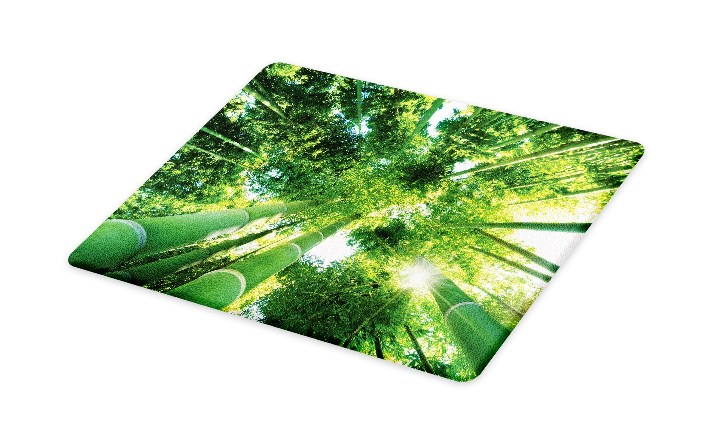 Lunarable Bamboo Cutting Board, Low Angle View of Bamboo Tree Tops Asian Zen Tranquil Lands Jungle Meditation Spa Theme, Decorative Tempered Glass Cutting and Serving Board, Large Size, Green