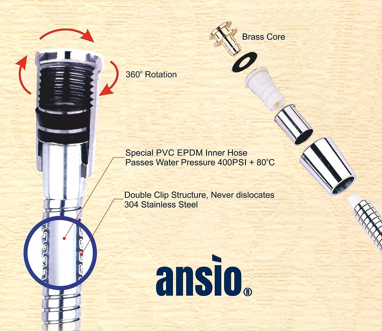 Ansio tuyau de douche de remplacement de 1,75/m anti-torsionet l/éger avec finition chrom/ée