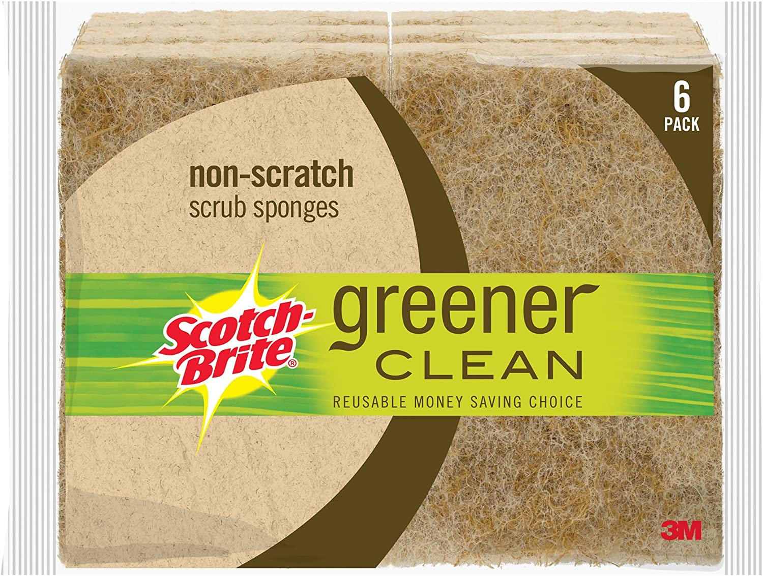 Scotch-Brite Greener Clean Natural Fiber Non-Scratch Scrub Sponge, 6 Scrub Sponges