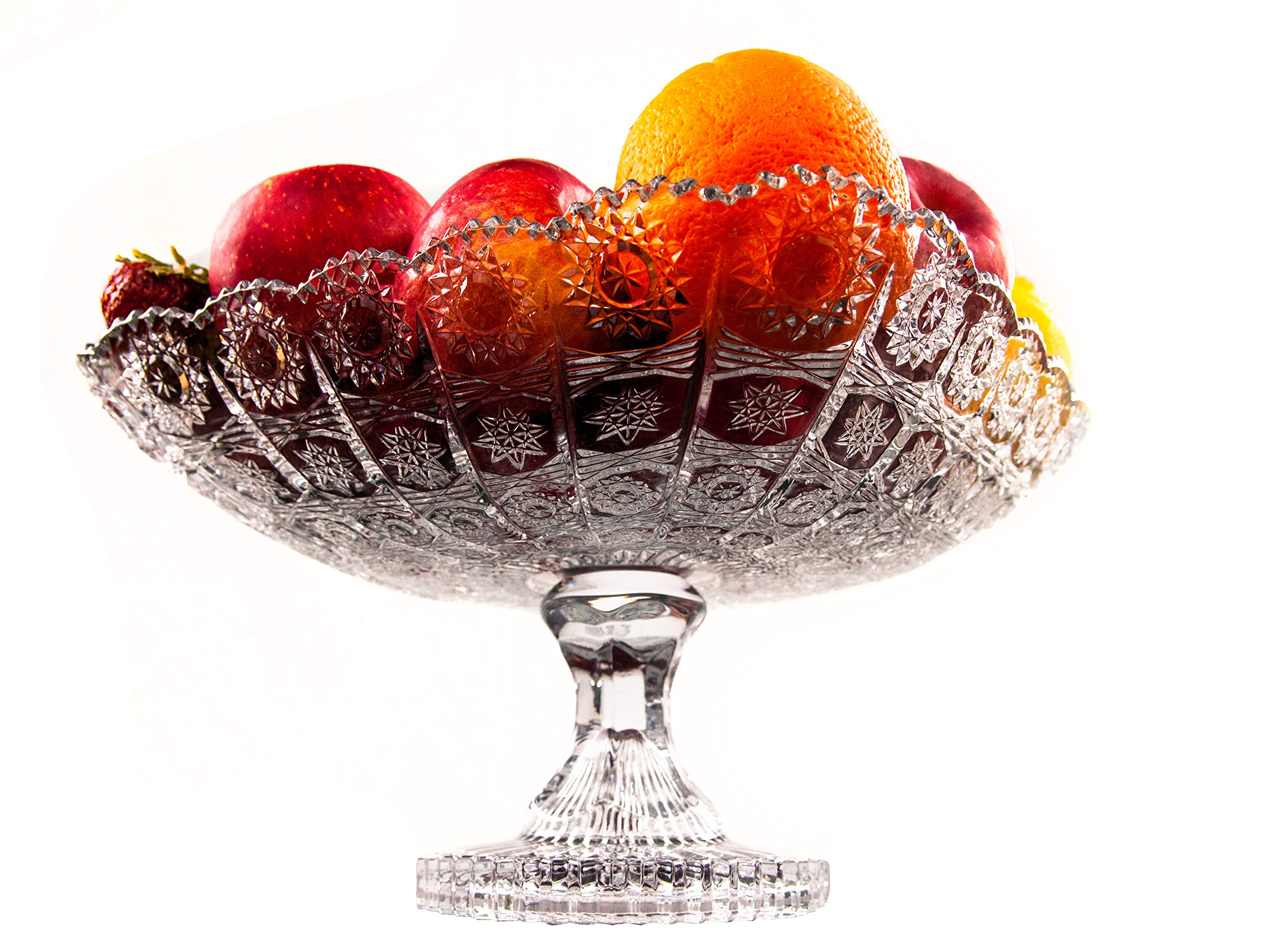 Pars Collections New Elegant Crystal Glass Centerpiece Serving Footed Square Bowl for Home, Office, Décor, Serving Fruit or Desert (Clear)