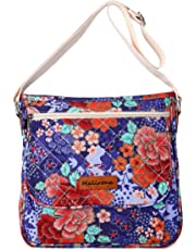 Malirona Canvas Messenger Bag Cross Body Purse Women Travel Purse Shoulder Satchel Floral Pattern