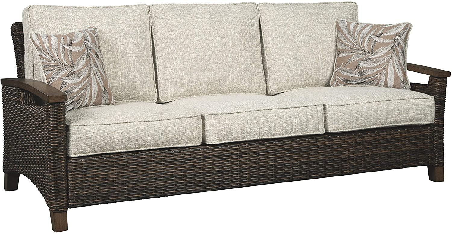 Signature Design by Ashley - Paradise Trail Outdoor Sofa with Cushions - All-weather Wicker Frame - Medium Brown