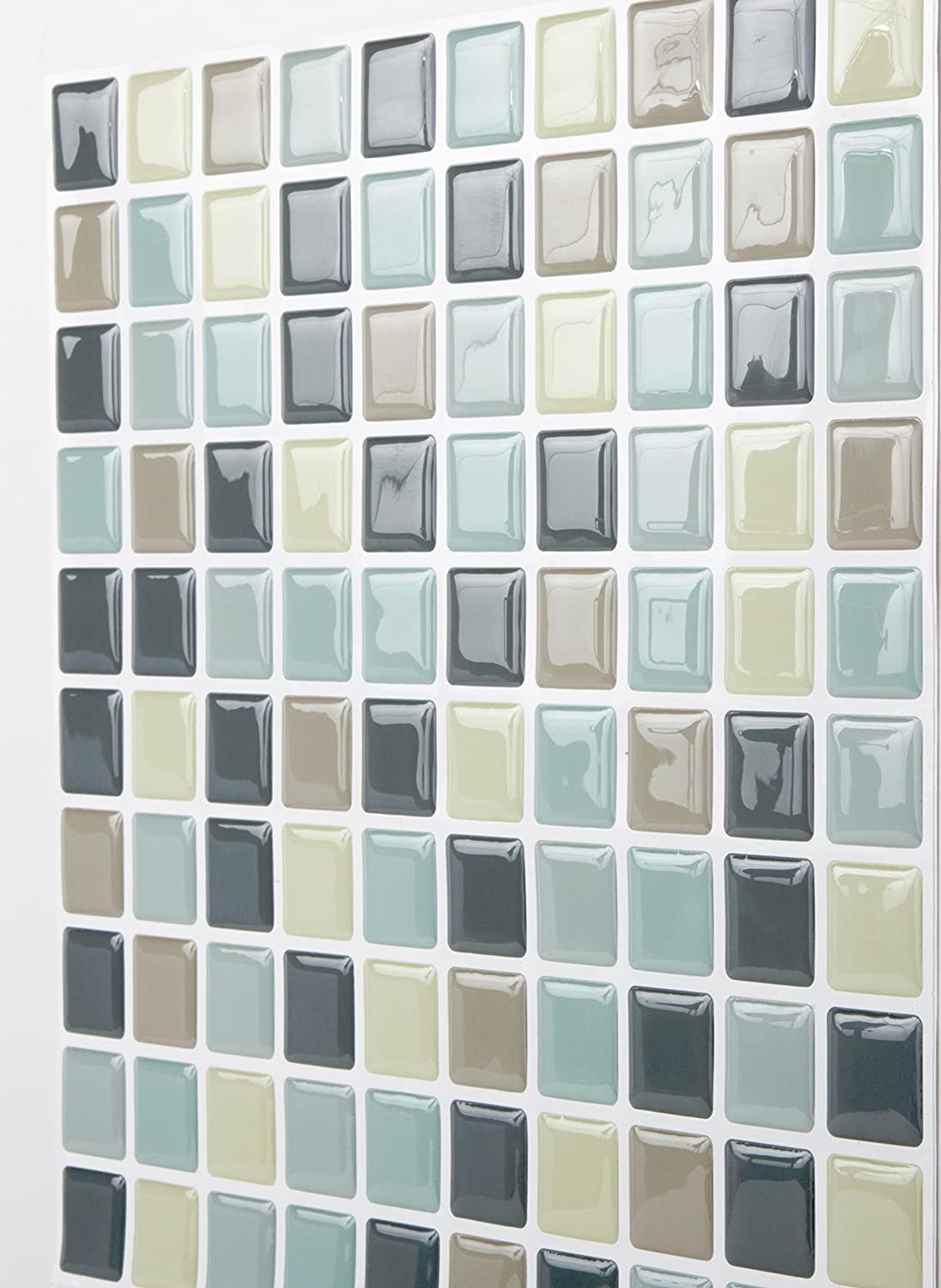 Tic Tac Tile Anti-mold Peel and Stick Wall Tiles in Mosaic Mintgray ...