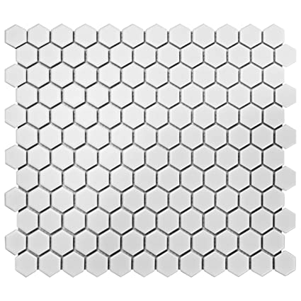 Somertile Fdxmhmw Retro Hex Porcelain Floor And Wall Tile 10 25 X 11 75 Matte White Ceramic Tiles Com
