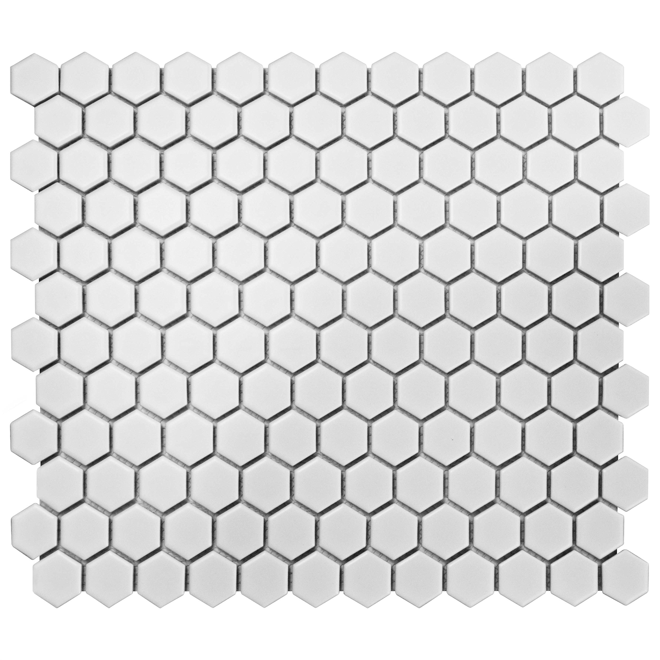 SomerTile FDXMHMW Retro Hex Porcelain Floor and Wall Tile, 10.25'' x 11.75'', Matte White