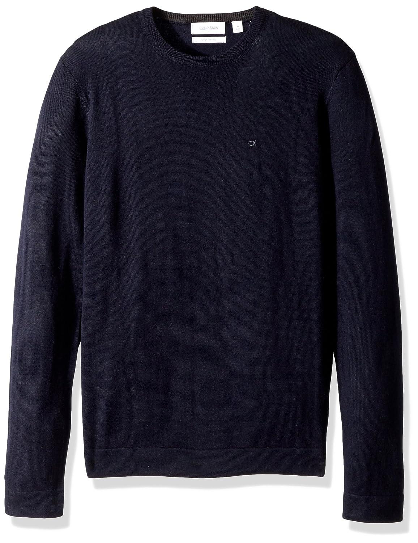 Calvin Klein Mens Merino Tipped Crew Neck Sweater 401S301