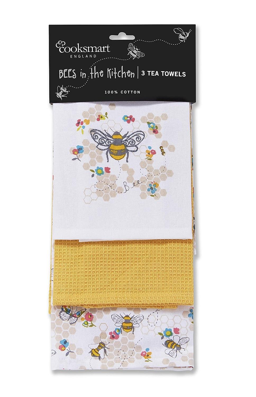 Cooksmart Busy Bees Tea Towel, Multi-Colour: Amazon.co.uk: Kitchen ...