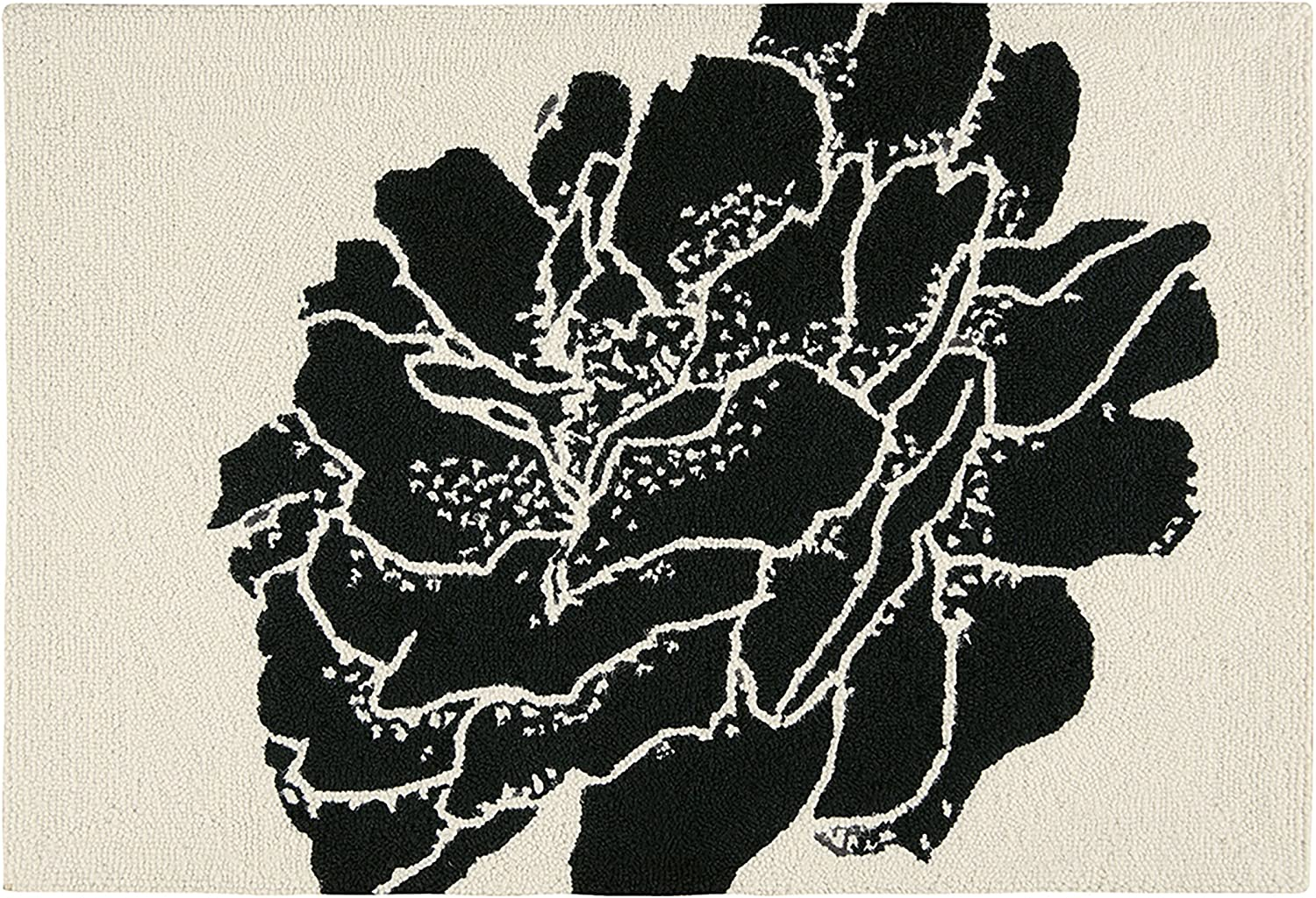 C&F Home Williamsburg Dandridge Botanical Floral Black and White Wool Handcrafted Premium Hooked Indoor Area Rug 2x3 Hooked Rug Black