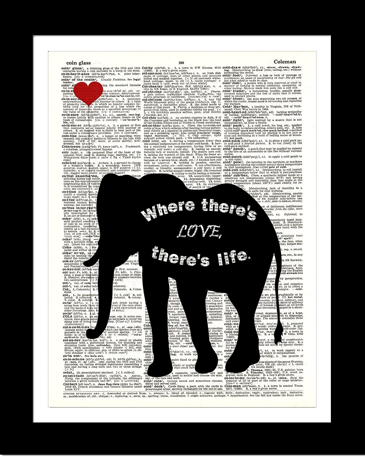 Black Elephant With Heart DICTIONARY ART PRINT Inspirational Quote - Home Wall Decor – Upcycled Dictionary Page Book Art Print - Unframed