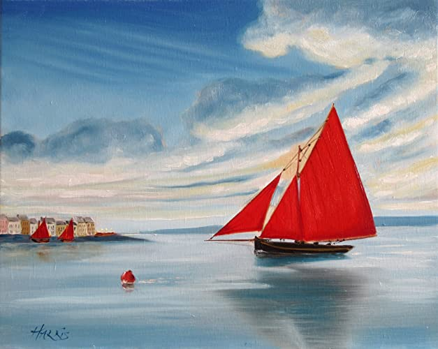 Journeys End Galway Hooker Framed Oil Painting Original