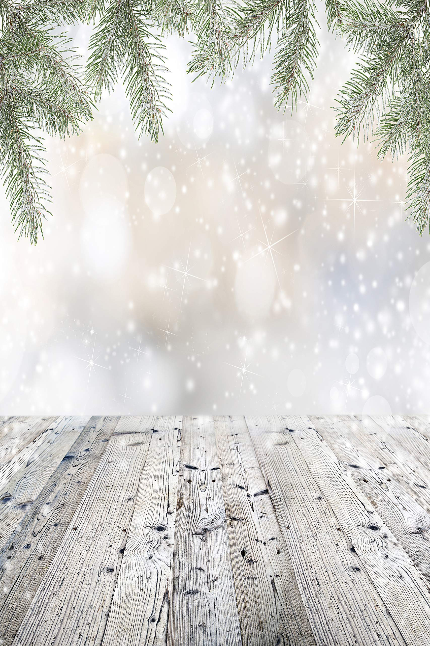 Christmas Frozen Branches Backdrop White Falling Snow Wooden Floor Pine Tree Sparkle Twinkle Winter Party Decoration Printed Fabric Photography Background (G1517, 8' Wide by 12' Tall)