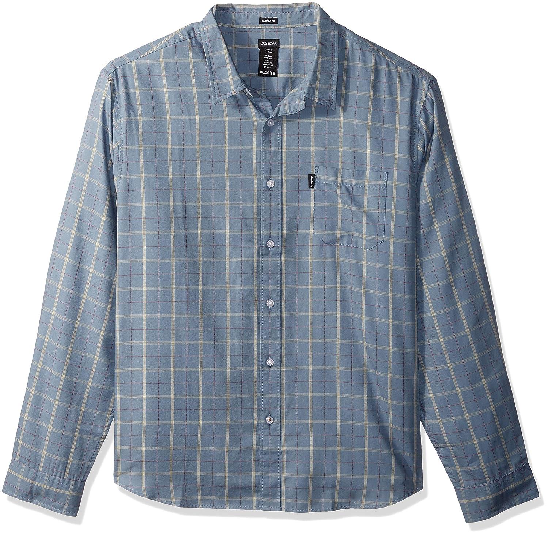 Dickies Mens Long Sleeve Regular Fit Yarn Dye Plaid Shirt