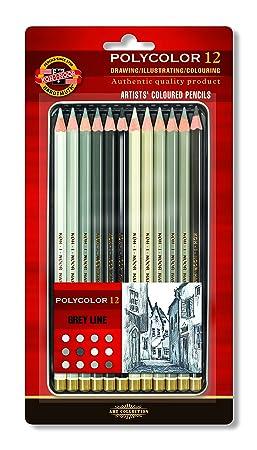 crayons de couleur koh i noor polycolor set gris