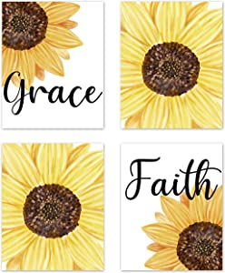 Yellow Sunflower Farmhouse Inspirational Sayings Rustic Wall Art Posters Home Room Decor Boho Floral Flower Country Pictures Prints Decorations Faith Christian Bible Verse Quotes Scripture Religious