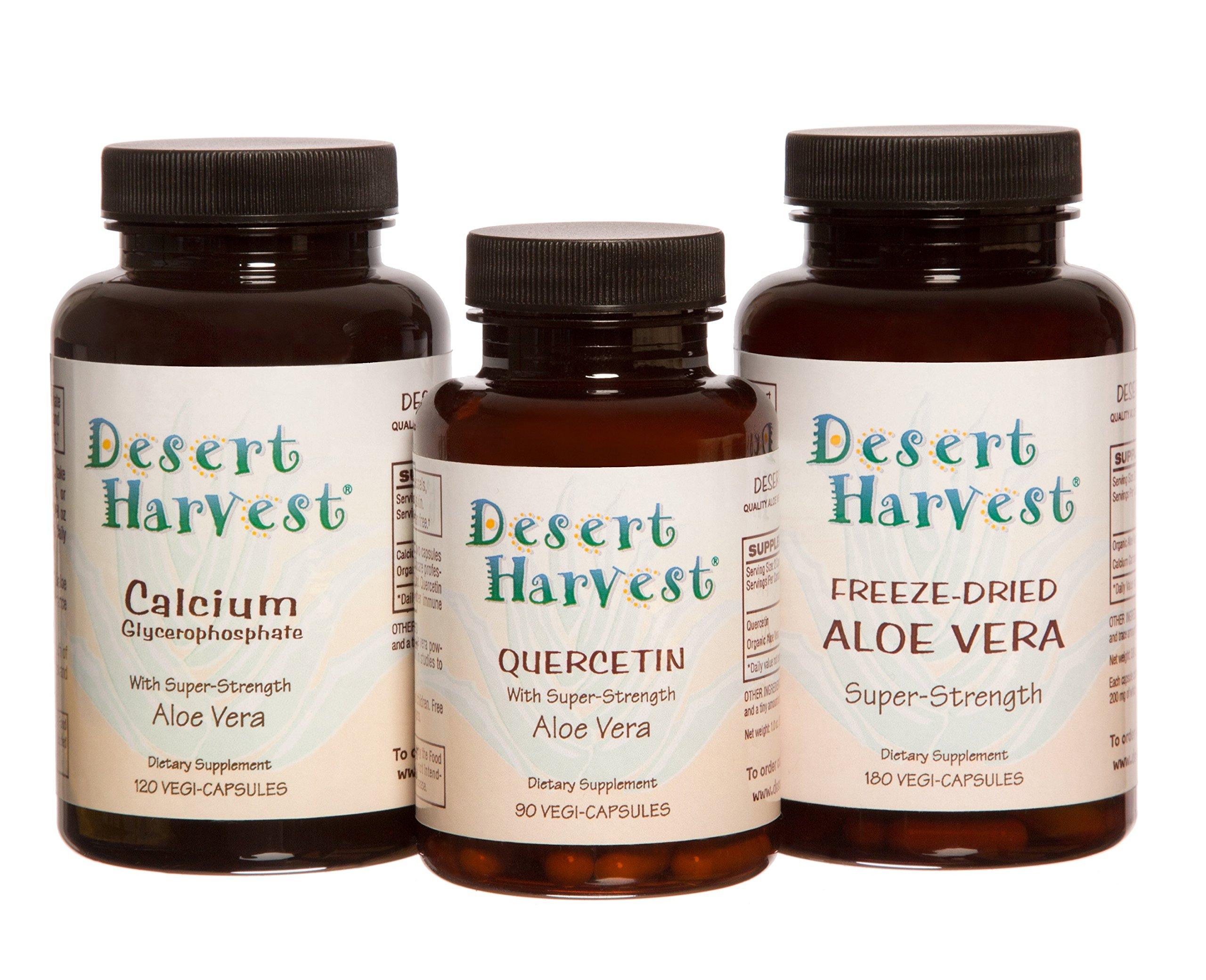 Interstitial Cystitis Starter Kit – Ideal Starter Supplements for IC/BPS. Super-Strength Aloe Vera Capsules + Calcium Glycerophosphate + Quercetin. Bladder Pain Relief, antihistamine, Acid Reducer