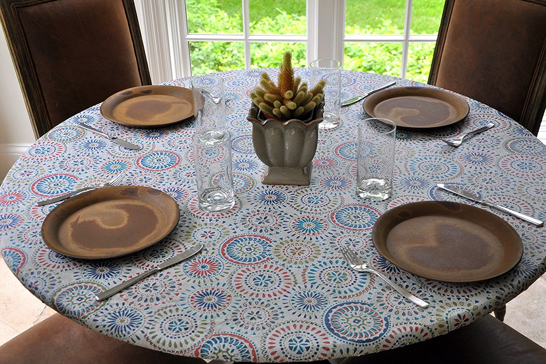 Elastic Flannel Backed Vinyl Fitted Table Cover MULTI-COLOR GEOMETRIC Pattern - Large Round - Fits tables 45'' to 58'' round - Elastic Edged