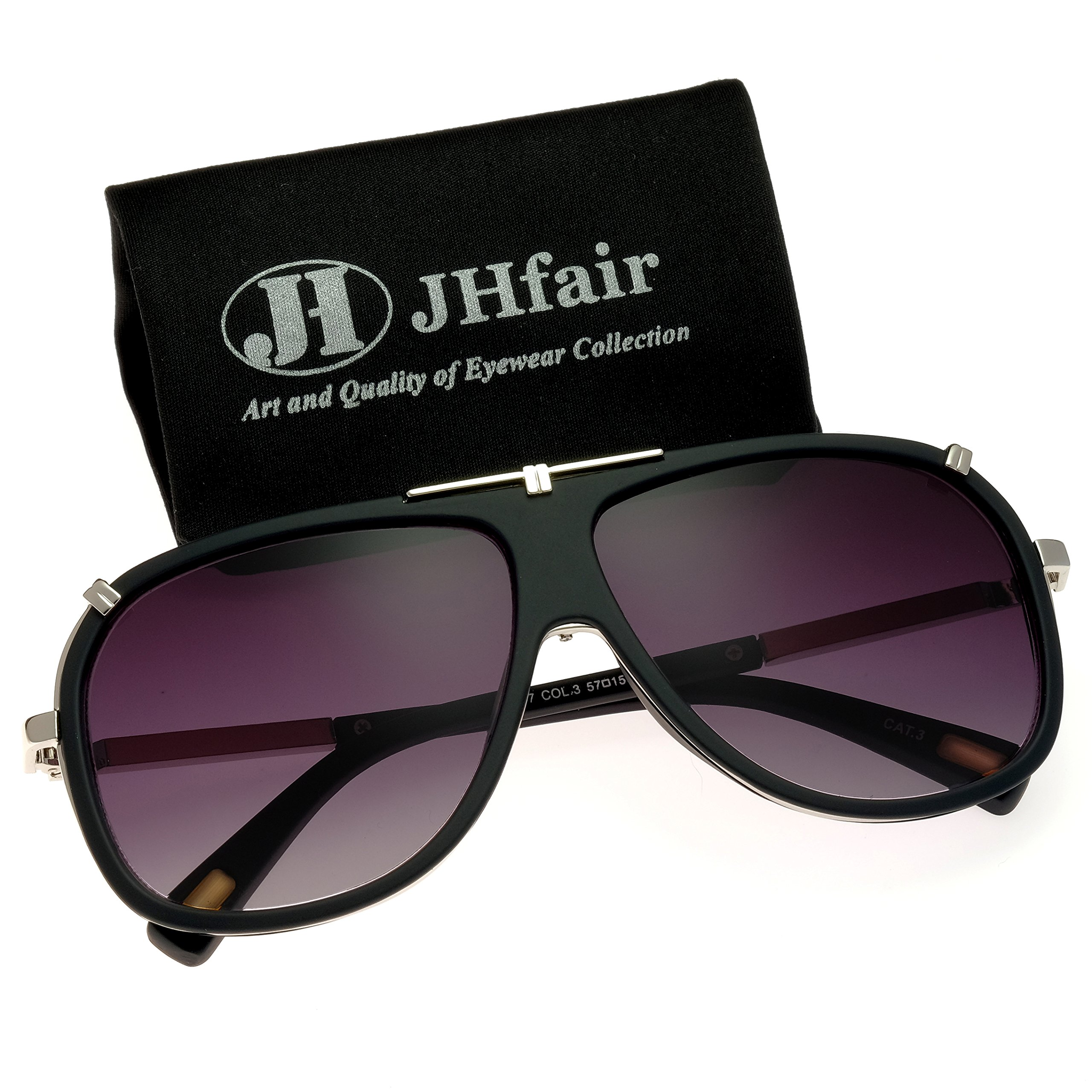JHfair Large Retro Aviator Fashion Mens Sunglasses Brand Designer