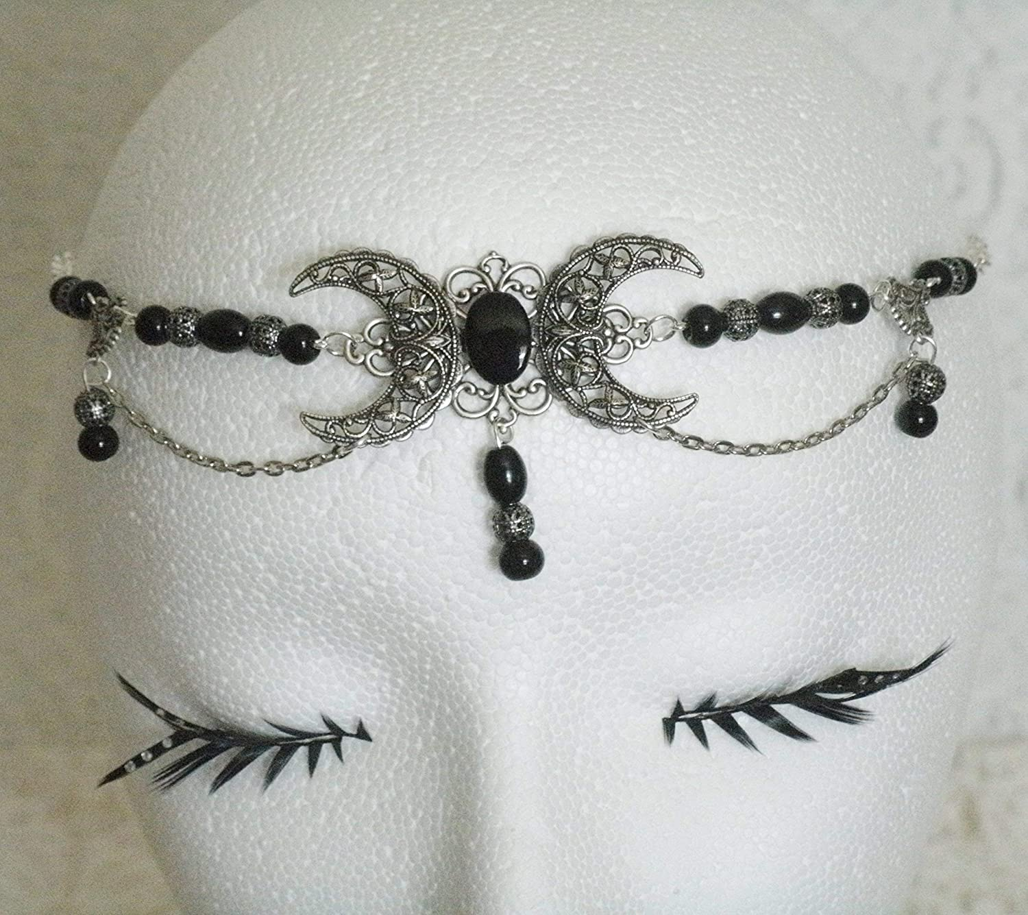 Black Onyx Triple Moon Circlet handmade jewelry wiccan pagan wicca witch witchcraft goddess gothic