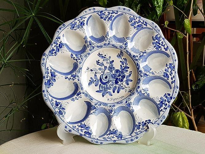 Antipastiera portauova in ceramica siciliana decorata a mano