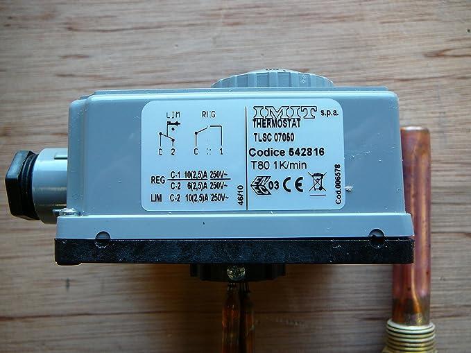 Ajustable TLSC IMIT 07050 542816 (60 - 90 Degrees °C) doble inmersión - doble termostato control y manual reiniciarlos límite de temperatura inferior stat ...