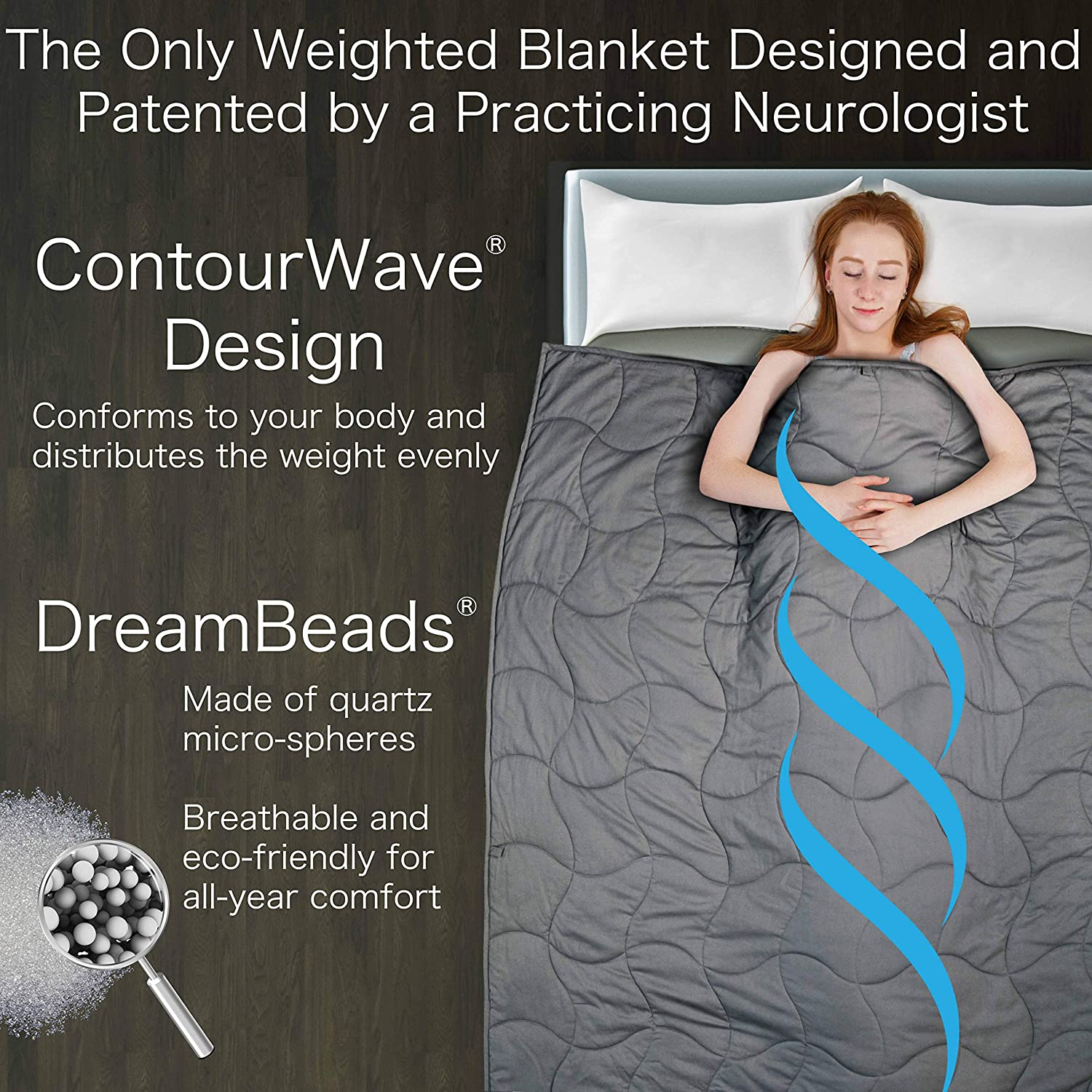 Dr Heavy Calming Blanket for Adults Harts Weighted Blanket Deluxe Set 15 lbs 60x80 Patented ContourWave Weighted Blanket /& Luxurious Microplush Removable Cover