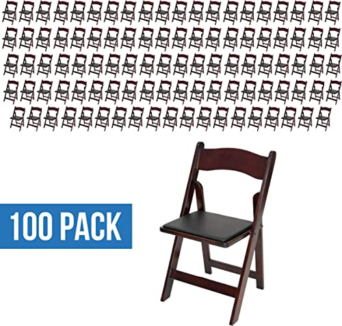 EventStable Titan Series Wood Folding Chair – Mahogany, 100-Pack