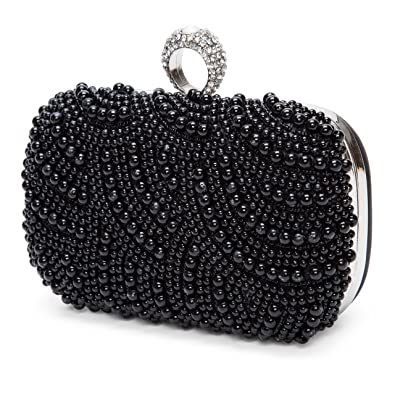 Kisschic Womens Luxury Special Crystals Beaded Pearl Clutch Evening bags ( Black)