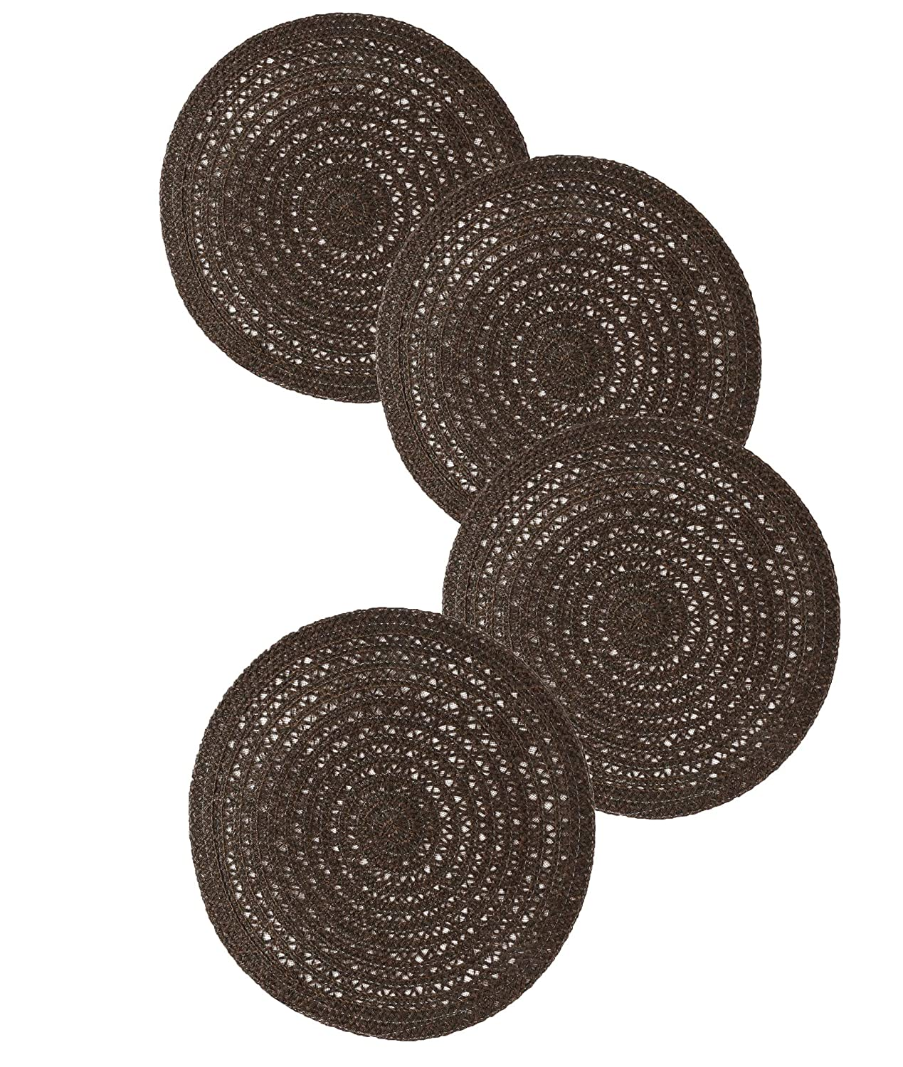 Famibay Placemats Round Placemats Set of 4 Woven Non Slip Place Mats Hemp Rope Heat Resistant Table Mats (Brown) Fmibay