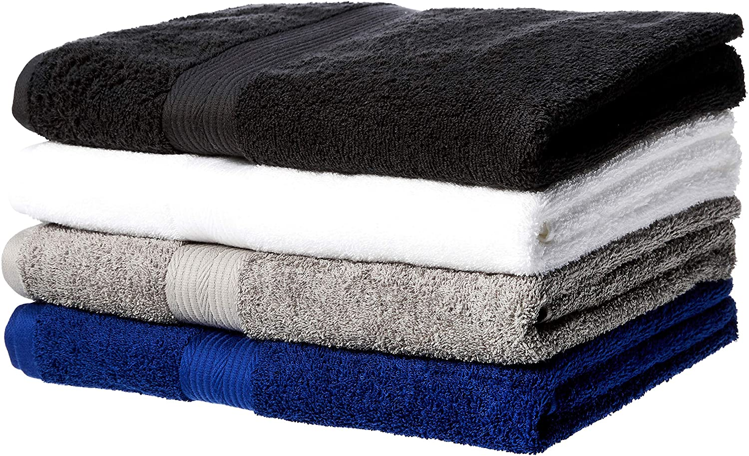 AmazonBasics Fade-Resistant Cotton Bath Towel - Pack of 4, Multi-Color Black, White, Grey, Navy Blue
