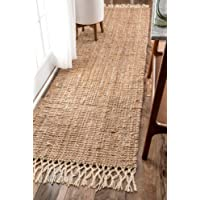 """nuLOOM Raleigh Hand Woven Wool Runner Rug, 2' 6"""" x 8', Natural"""