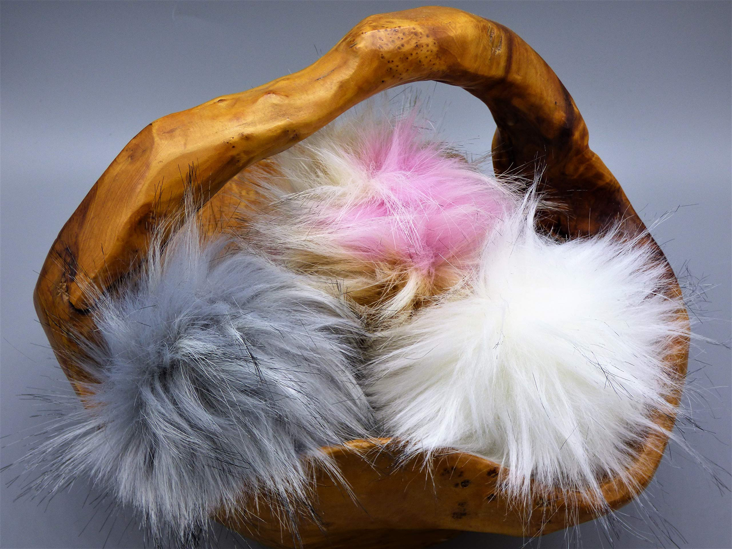 Faux Fur Pom Pom Balls | Extra Large {5-6 INCHES} Set of 3 Removable Pompoms with Snaps for Knitting Accessories | DIY Hats and Crafts | Pastel Assortment by Haven-Sent by Haven-Sent (Image #2)