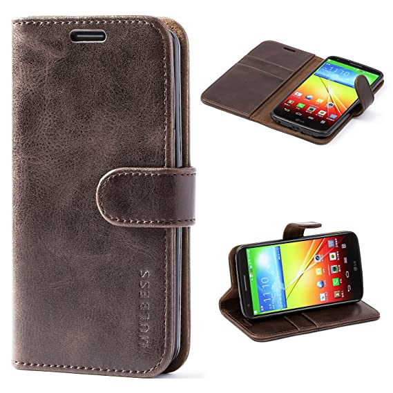 quality design e6753 e3a5f LG G2 Case,Mulbess Leather Case, Flip Folio Book Case, Money Pouch Wallet  Cover with Kick Stand for LG G2,Coffee Brown