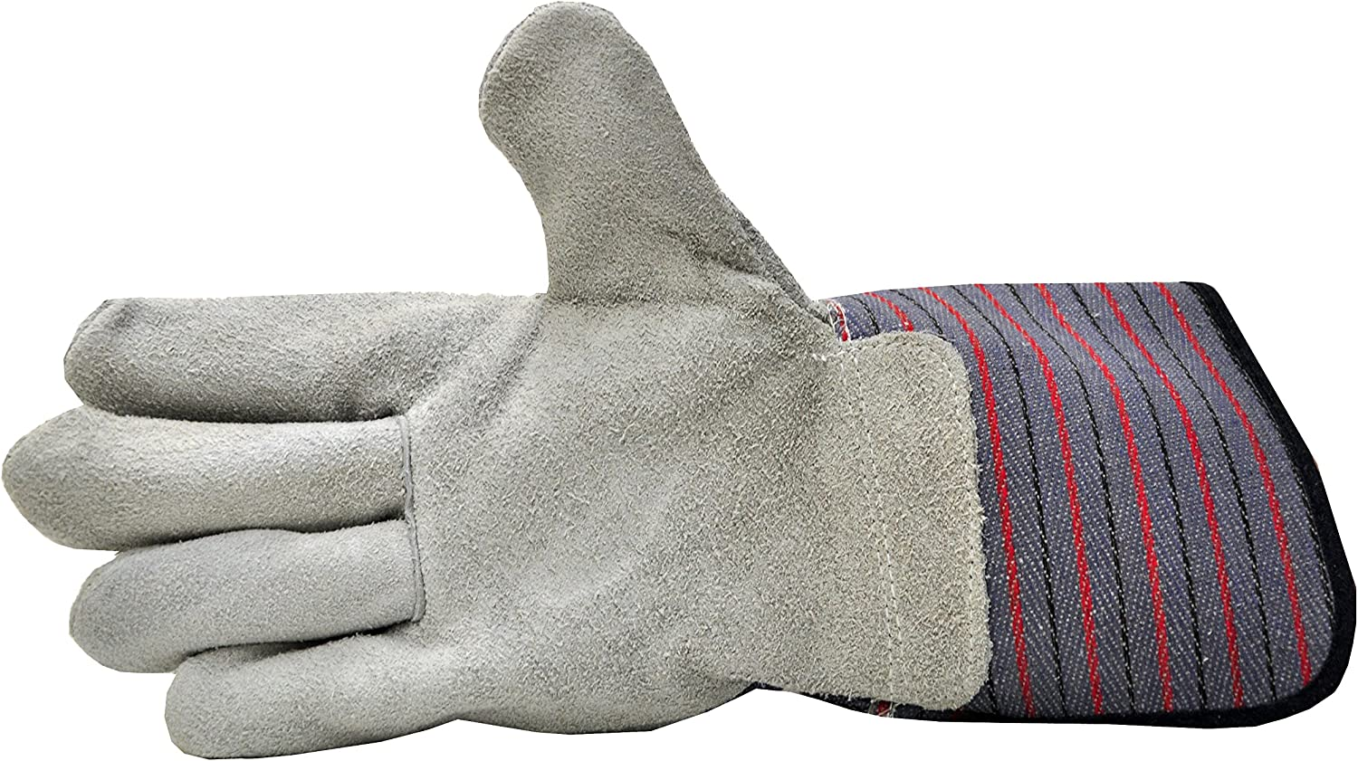 G & F 5025L-5 Premium Suede Leather Work Gloves with Extra Long Rubberized Safety Cuff