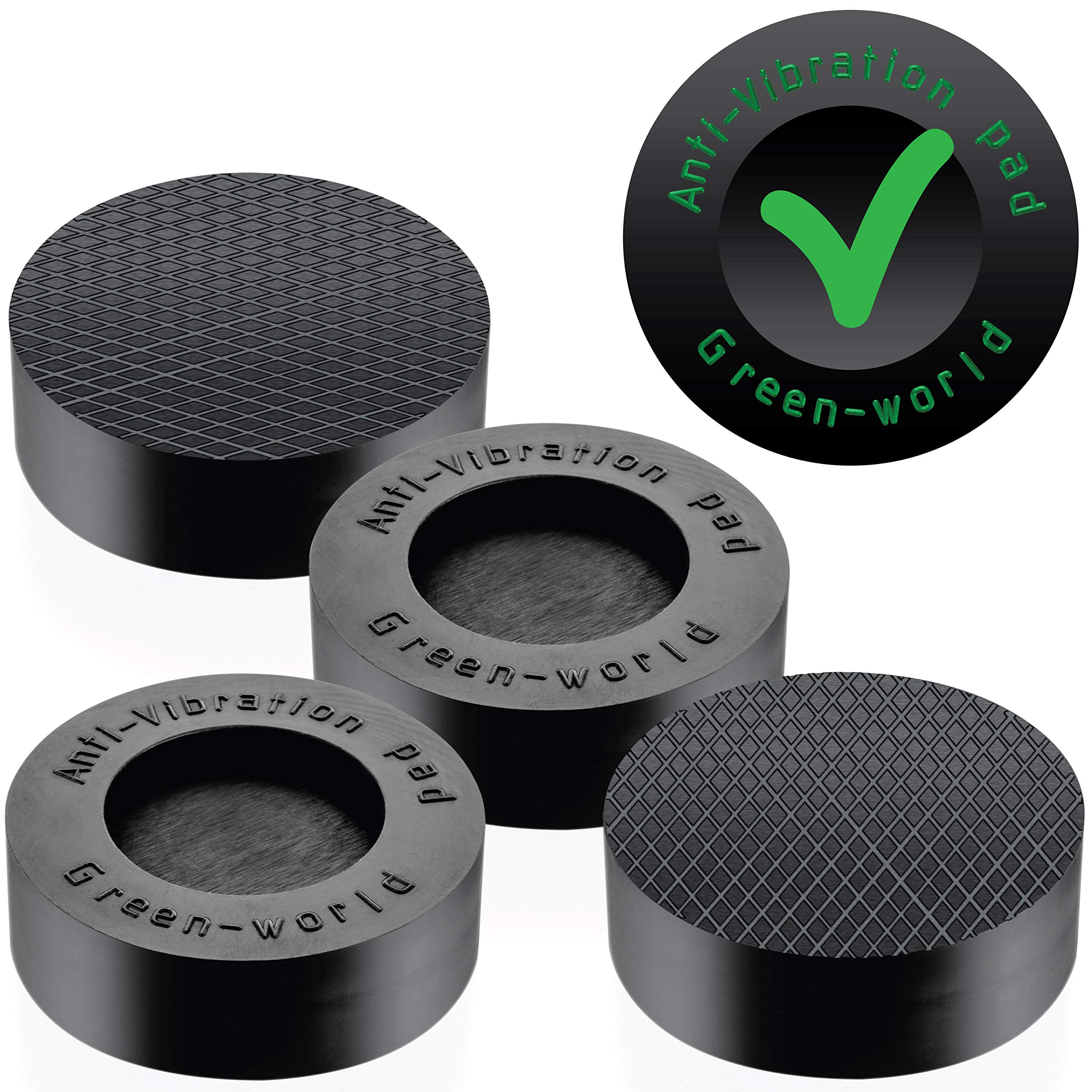 Washer Dryer Antivibration and Anti-Walk Pads - Portable Anti Vibrant Pad set of 4 - Excludes Walking Reduces Vibration as Washing Machine Pan Tray Stabilizer Pedestal- by Green-World