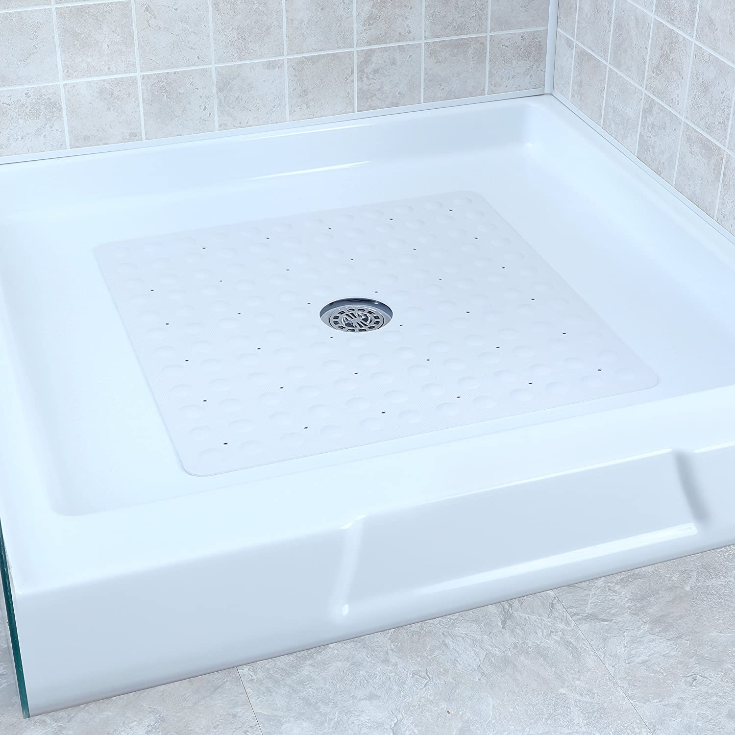 Amazon.com: SlipX Solutions White Square Rubber Safety Shower Mat ...