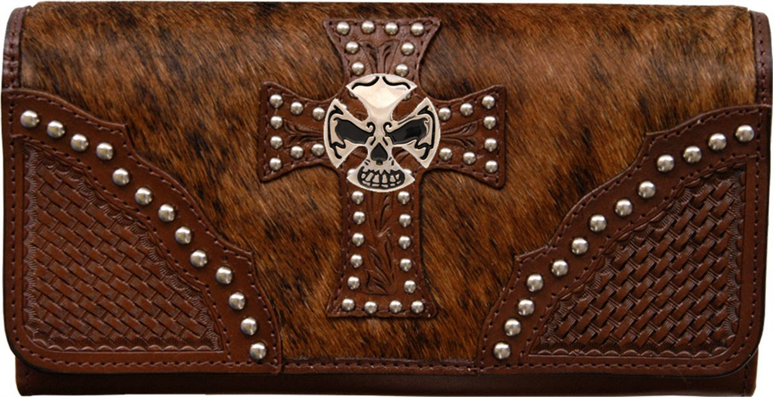 Custom Skull and Crossbones Natural Hair Christian Clutch Wallet with removable checkbook