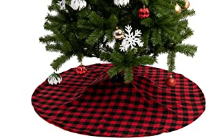 "Joiedomi 48"" Baffalo Check Tree Skirt (Red) 48"" Buffalo Plaid Christmas Tree Skirt - Black and Red Checked Tree Skirts Mat for Christmas Holiday Party Decorations"