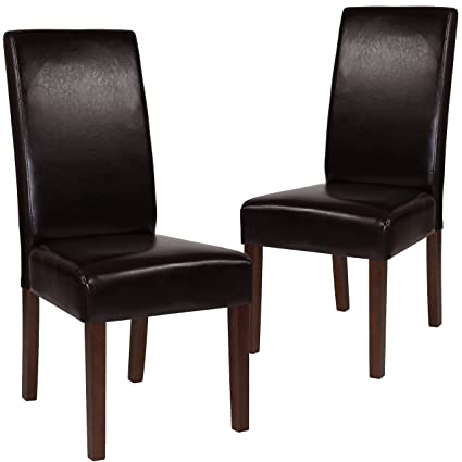 Prime Flash Furniture 2 Qy A37 9061 Brnl Gg Brown Leather Parsons Dining Chairs 2 Pack Machost Co Dining Chair Design Ideas Machostcouk