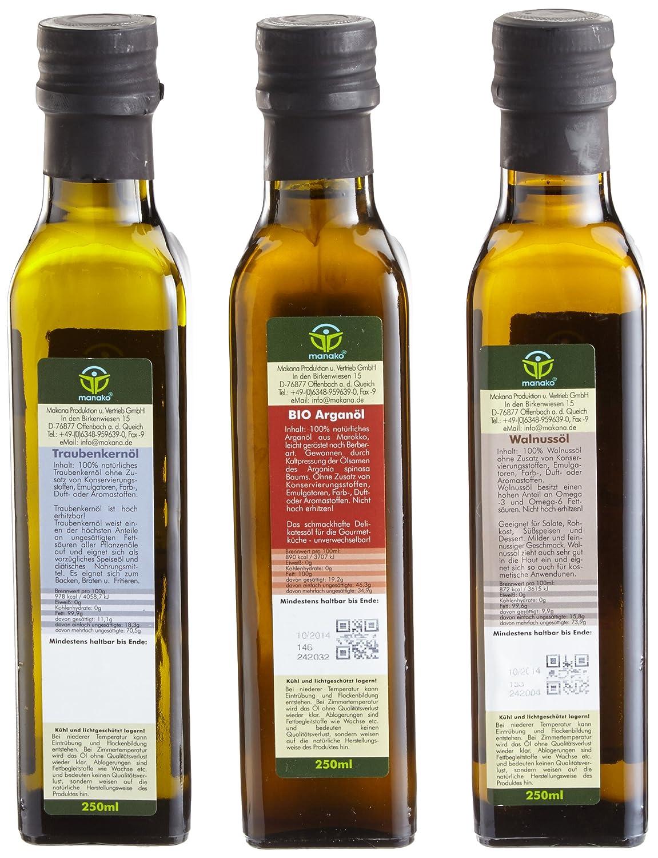 manako Gourmetset: BIO Arganöl geröstet 250ml, Traubenkernöl 250 ml ...