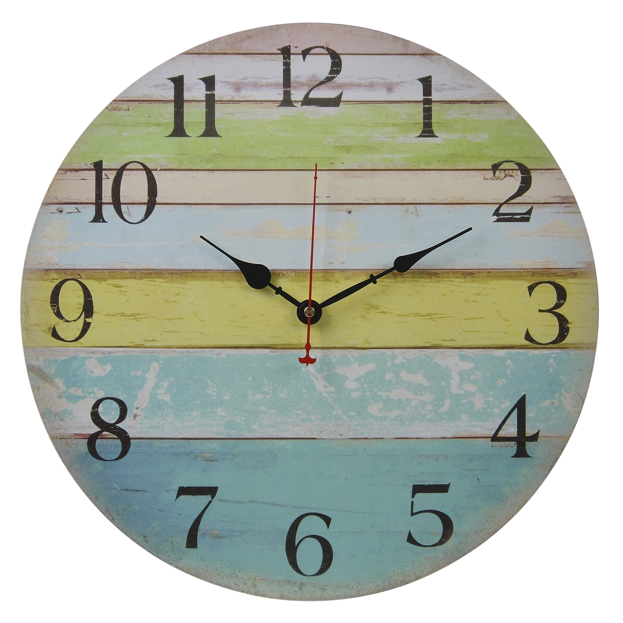 Old Oak 16-Inch Large Beach Wall Clock Decorative Silent Non-Ticking Nautical Theme for Bathroom Living Room Kitchen Bedroom Decor with Colorful Blue Green Yellow Stripe
