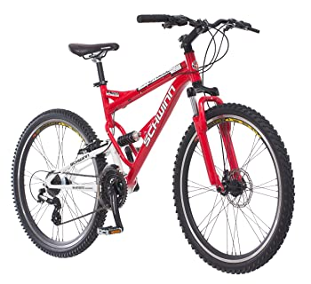 Schwinn Protocol 1.0 Dual-Suspension Mountain Bike with Aluminum Frame, 26-Inch Wheels, Red