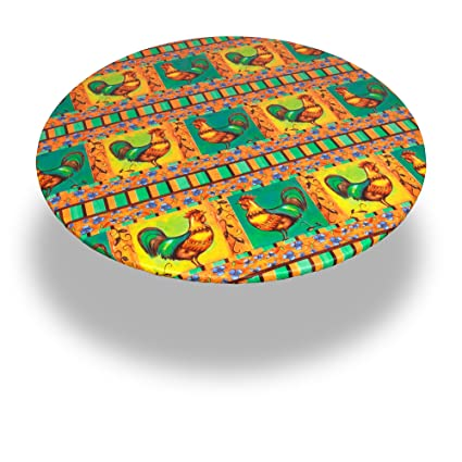 Carnation Home Fashions DFLN-F60RD/RO Rooster Round Fitted Vinyl Tablecloth, 60
