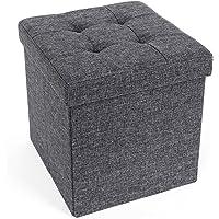 SONGMICS Sitzbank Sitztruhe Aufbewahrungsbox Sitzhocker belastbar bis 300 kg 38 x 38 x 38 cm