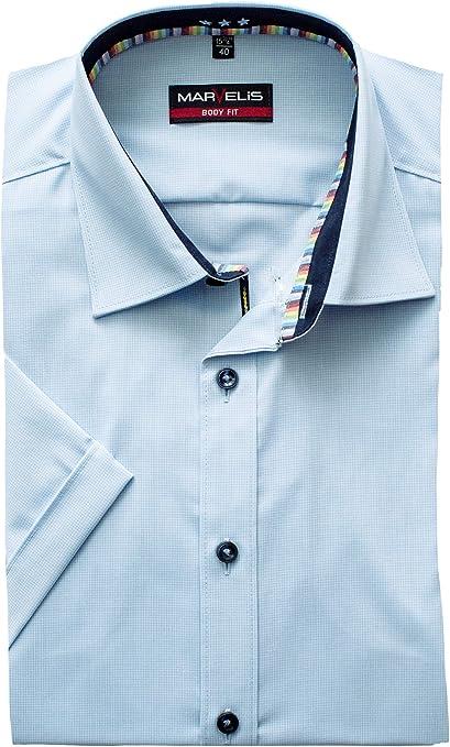 Marvelis - Camisa de manga corta, corte Body Fit, cuadros azules y blancos, fácil de planchar, cuello de Nueva York Kent azul 42: Amazon.es: Ropa y accesorios