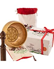 """Tibetan Singing Bowl Set By YAK THERAPY- Meditation, Yoga Sound & Chakras Healing Bowl with Mallet, Silk Cushion, Silk Bag, 4.5"""" Tibetan Bell, Buddhist Bowl Made in Nepal includes Gift Ebook by Email"""