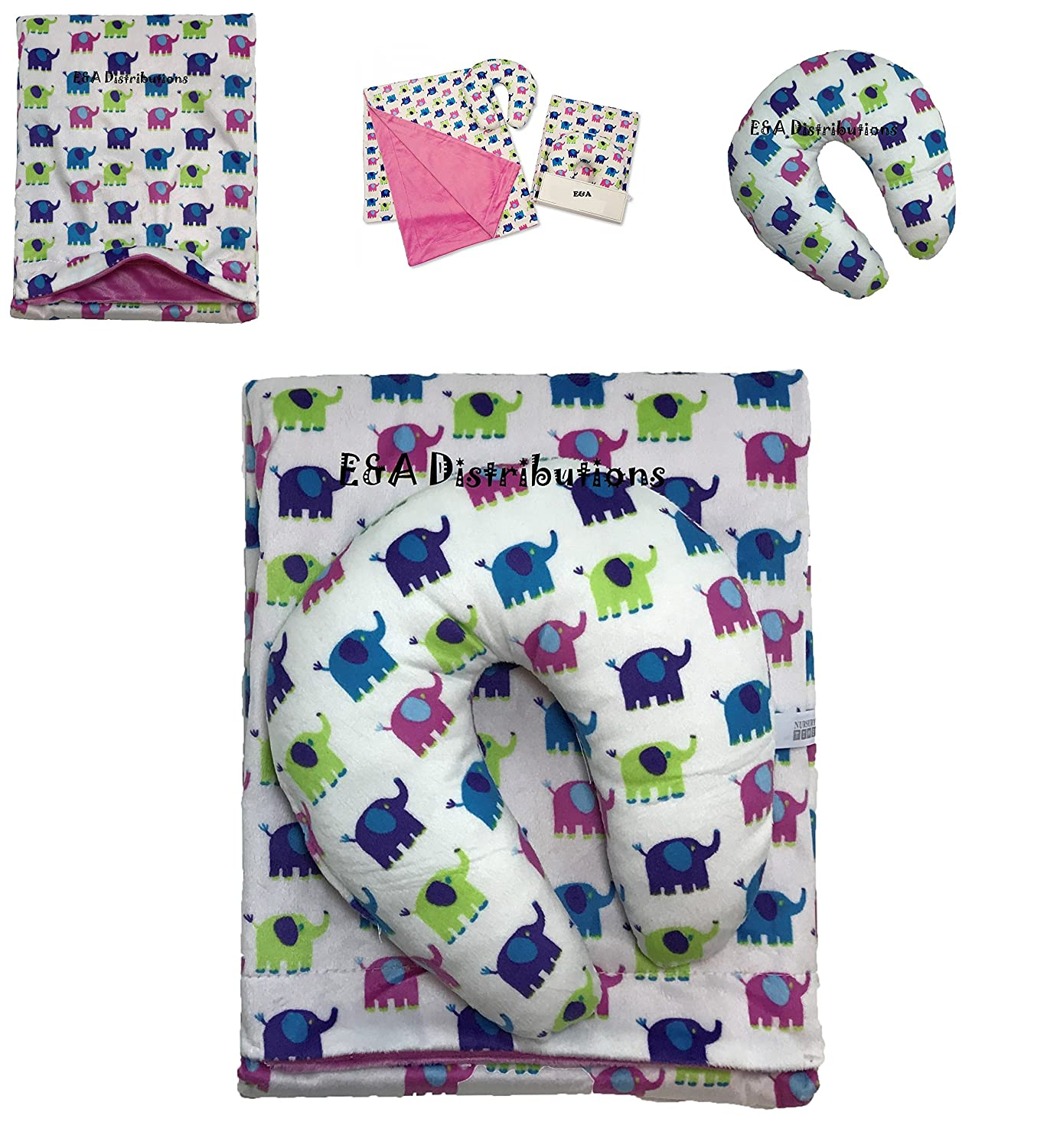 Blanket with Pillow Multi Elephant Desgin