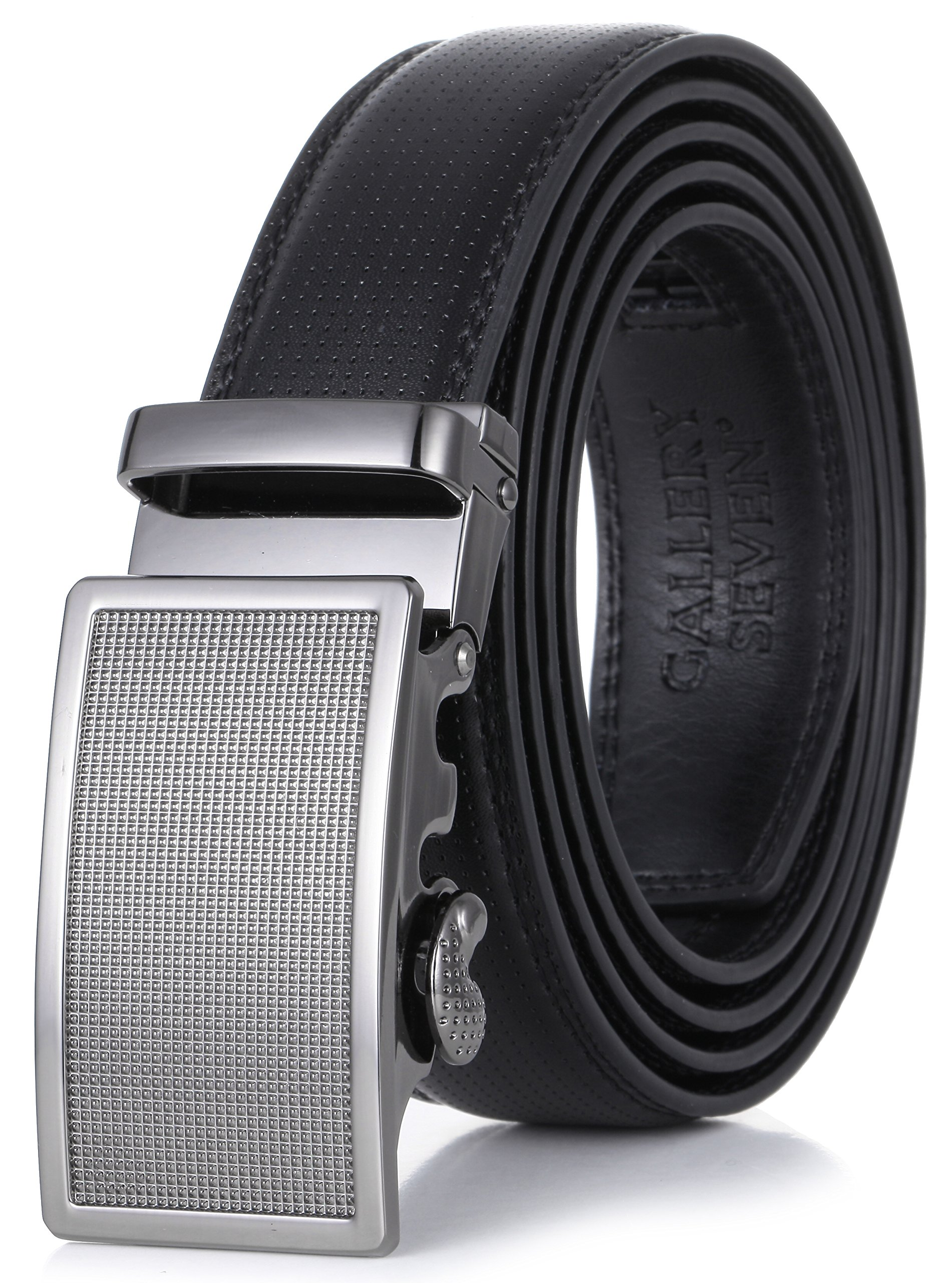 Gallery Seven Mens Leather Ratchet Belt - Adjustable Genuine Leather Dress Belt For Men - Casual Click Belt - In Gift Box - Black Style-2 - Medium Up To Waist 44''