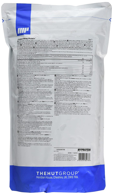 MyProtein Impact Whey Proteína de Suero, Sabor Latte - 1000 gr: Amazon.es: Salud y cuidado personal