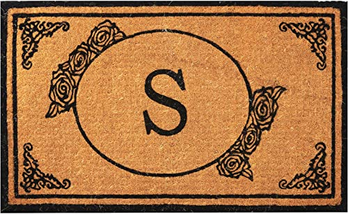 Envelor Home and Garden Handwoven, Customized Monogram Extra Thick Doormat, Outdoor Rugs Durable Coir, Outdoor Doormat, Welcome Mat Entryway Door Mat For Patio, Coir Doormat 30 x 48, Monogram S