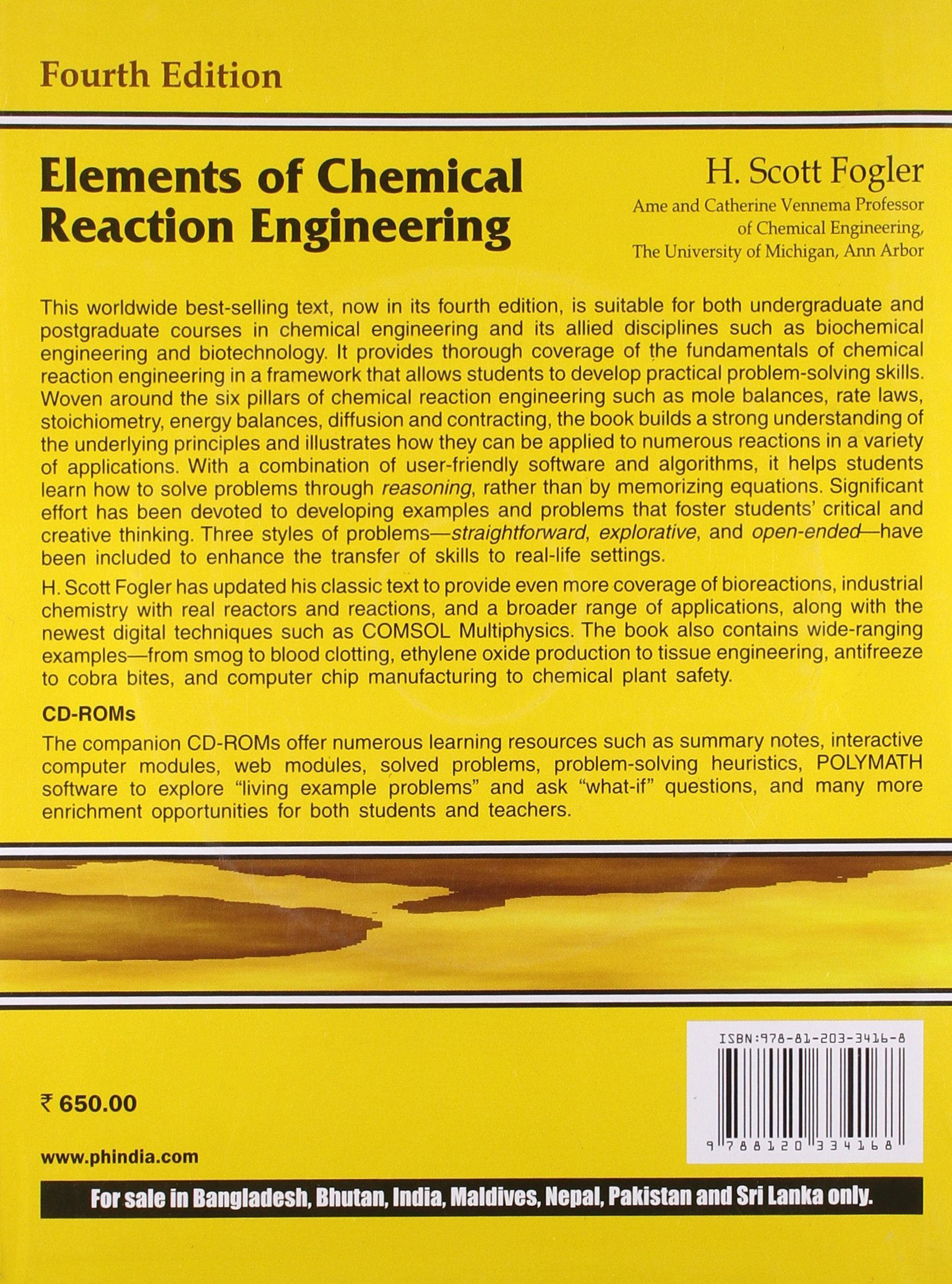 elements of chemical reaction engineering h scott fogler elements of chemical reaction engineering h scott fogler 9787502741006 com books